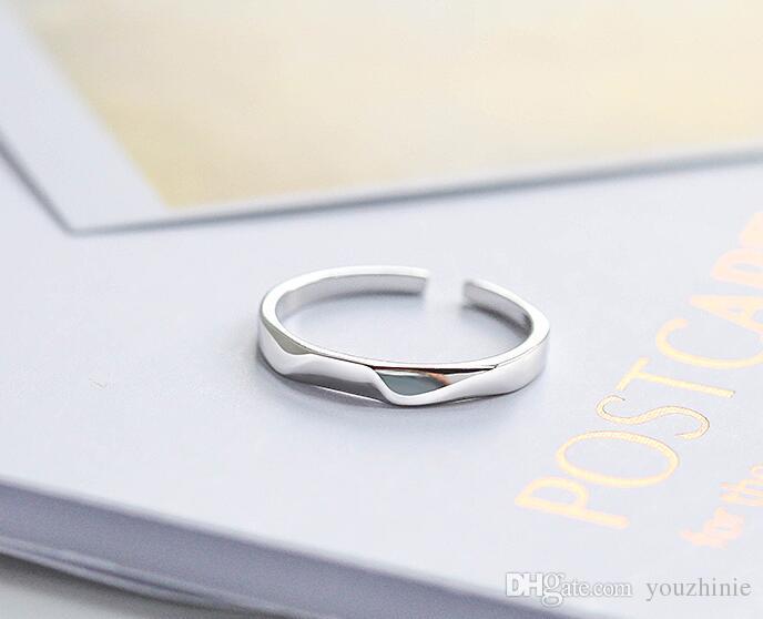 Anillo de dedo de plata S925 anillo de apertura estudiantes personalidad simple personalidad del todo fósforo joyas
