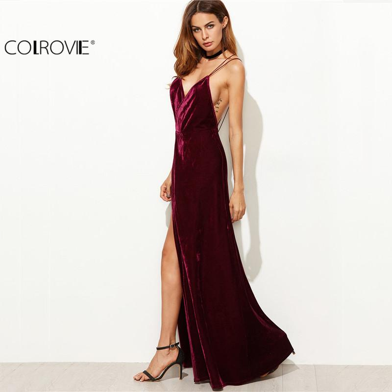 COLROVIE Burgundy Velvet Maxi Backless Dress Womens Autumn Party Dresses  Deep V Neck Long Elegant Dress New Strappy Wrap Dress Q1113 High Quality  Backless ... ffca560e9396