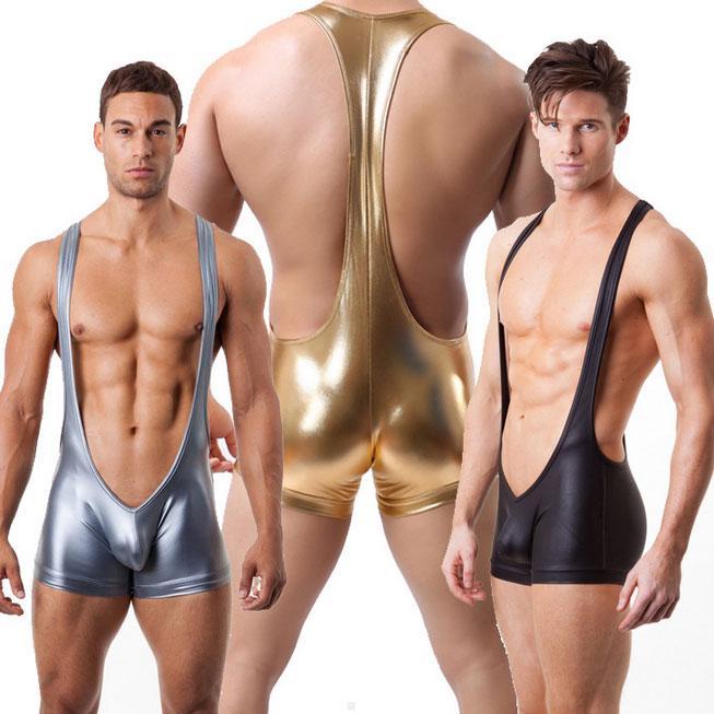 N2N Bodywear Faux Leather Wrestling Singlet Hombres Sexy Boxeadores Siameses Ropa interior Gay Marca Leotard Color Negro / Oro / Plata S M L XL
