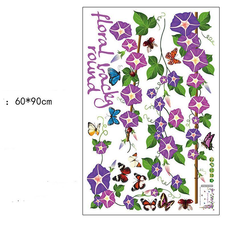 Venda quente Morning Glory Borboleta Adesivos de Parede Decalques de Parede de Animais de Flor para Quarto Sala de Arte Floral Casa Decorações