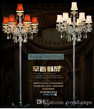 7arm large wedding led floor lamps tall led candelabra modern party glass candle holders living room crystal floor light with lamp shade
