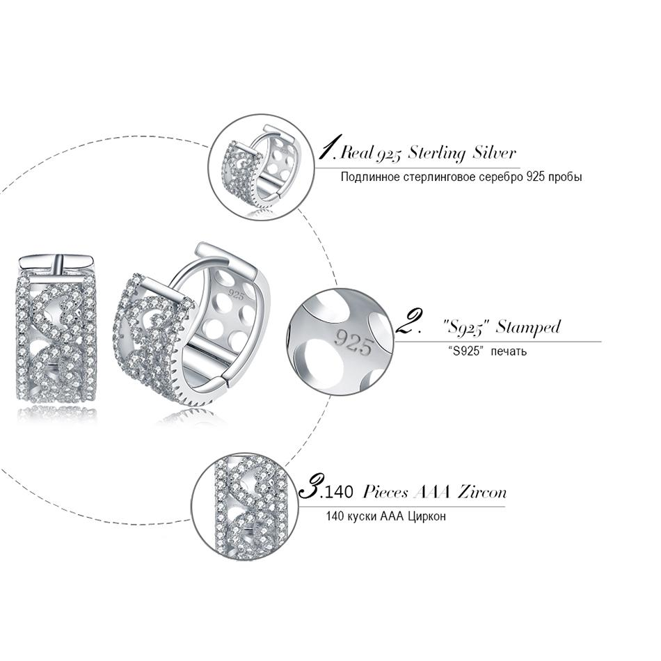 Moda Donna Gioielli Orecchini in argento sterling 925 Piccoli orecchini a cerchio con forma a cuore Cubic Zirconia SE21