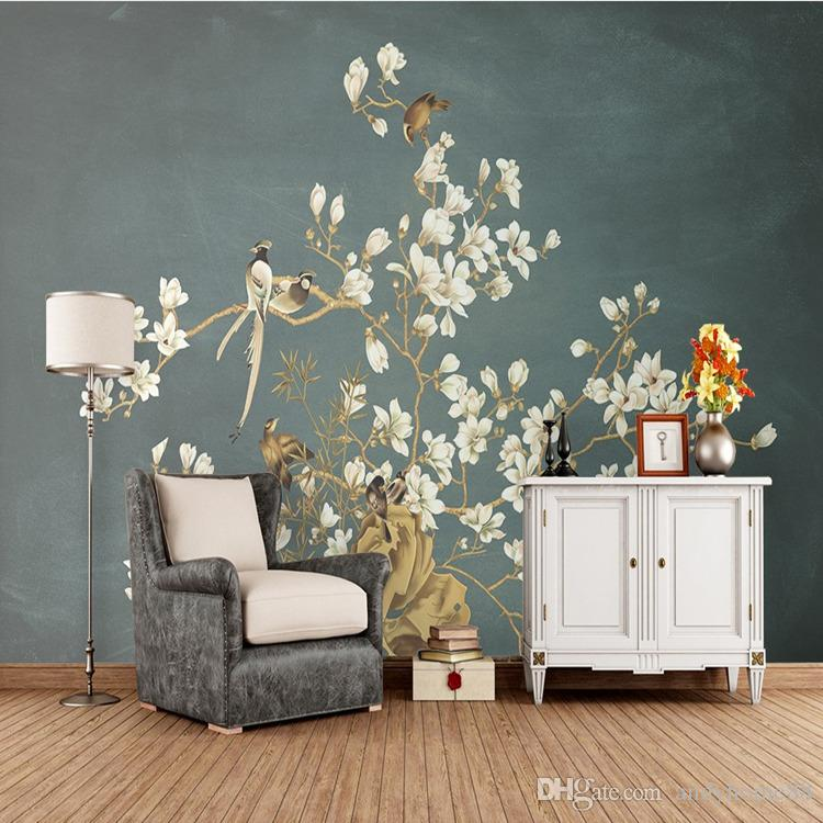 D Chinese Custom Murals Hand Painted Tricks Flowers And Birds - Custom murals from photos