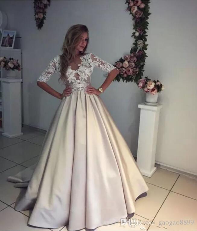 2019 vestidos de Marfil y Champagne V boda de playa del cuello Sheer medias mangas cinta cintura barrido tren Perlas botones de cierre de Vestidos de Novia DTJ