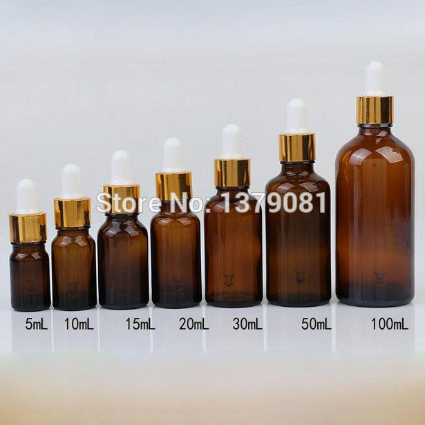 2c05e9255e85 5ml,10ml,15ml,20ml,30ml,50ml,100ml Amber Mini Glass Bottles with Dropper  White Rubber DIY Sample Vial Essential Oil Bottle