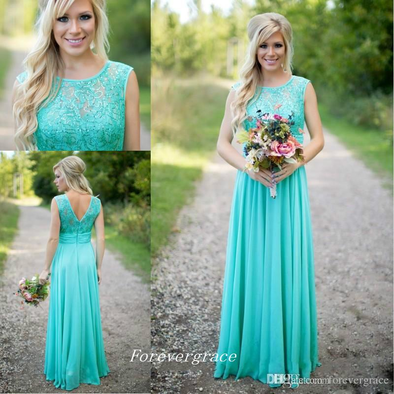 685e733a23 Mint Green Bridesmaid Dress A Line Jewel Neckline Long Chiffon Lace Top  Maid of Honor Dress Wedding Guest Gown Custom Made Plus Size
