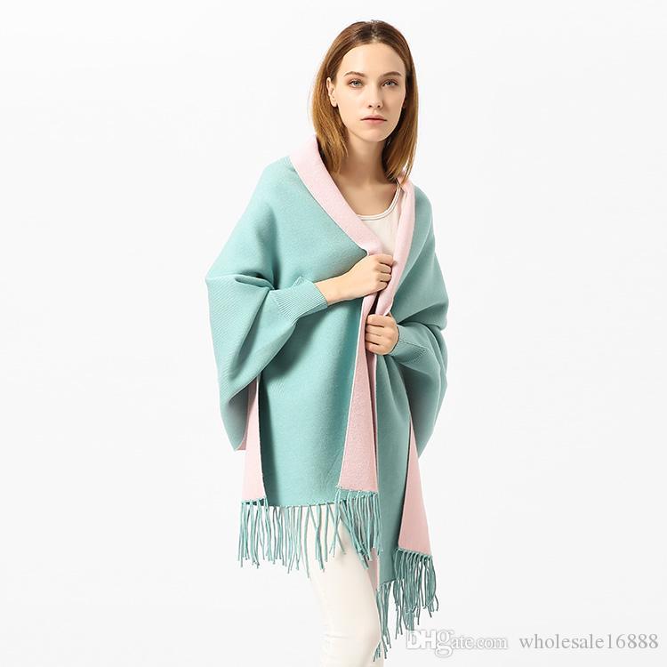 New 2017 Lady Women Thickening Warm Tassel Cloak Double scarf Shawl blue colour Pashmina Autumn Wnter Spring scarf