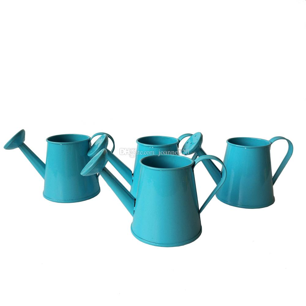 metal favor pail mini small watering can bucket flower metal garden kettle favor holder blue colors flower sprinkler garden kettle watering can online with - Garden Watering Can