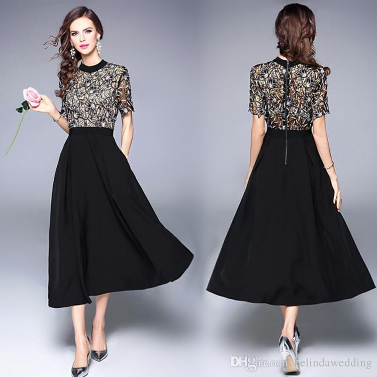 Cheap 2017 Little Black Tea Length Cocktail Party Dresses Short Sleeves  Jewel A Line Evening Gowns Long Formal Prom Bridesmaid Dress  Cocktaildresses Dark ... c99641d1c48c