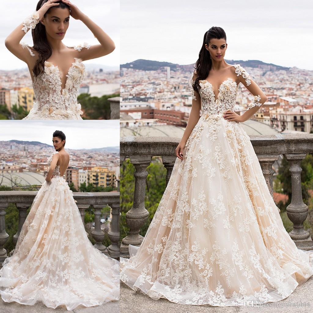 fbac4d7968dd Milla Nova Champagne 3D Floral Applique Ball Gown Wedding Dresses 2017  Backless Long Sleeve Plus Size Vintage Princess Bridal Dress Ball Gown  Wedding Gowns ...