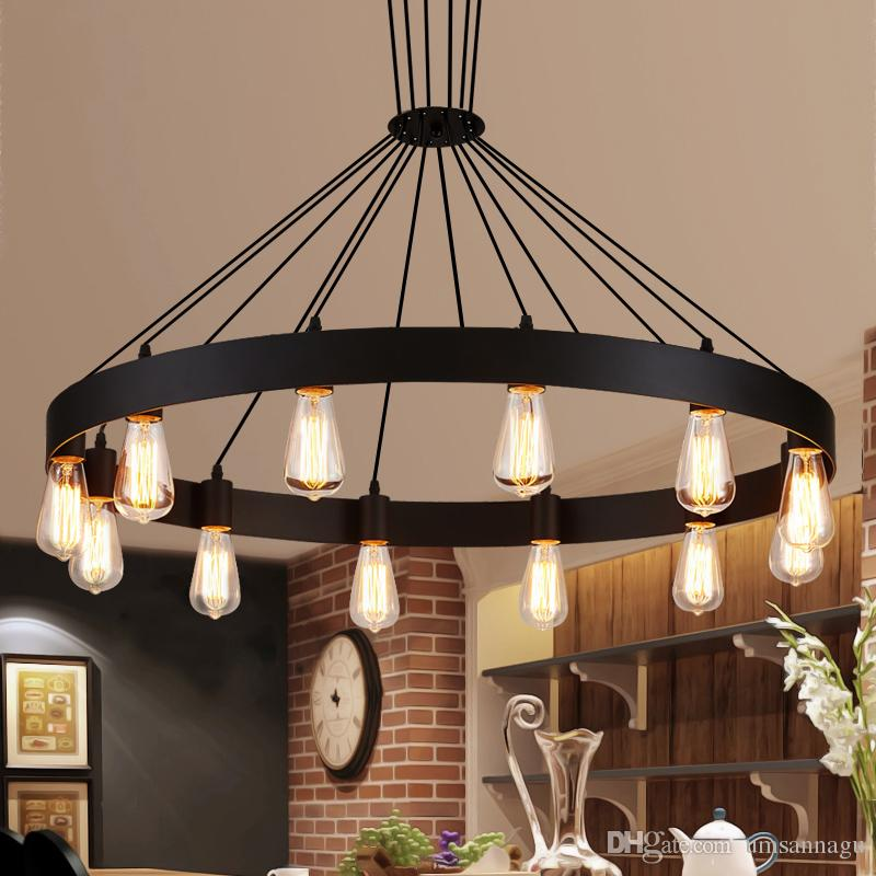 Industrial round pendant lights fixture american country pendant lamps metal drop light home indoor lighting restaurant cafes shop pub lamp pendant lamps