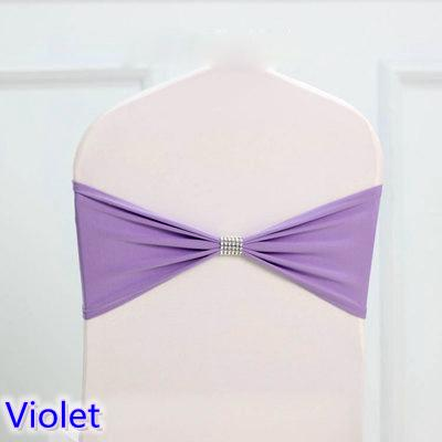 Violet colour tie bands Lycra sash chair sash Bow tie ribbon For Wedding Party Banquet Decoration for sale with shiny belt