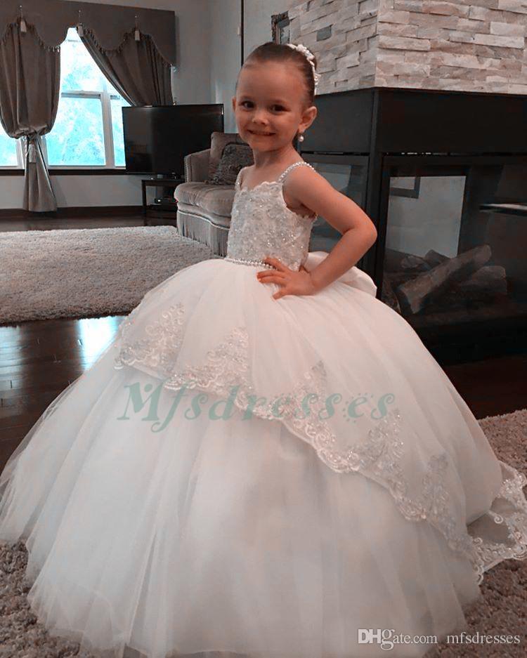 2017 Nueva Princesa Blanco Vestido de Bola de Marfil Vestido de Niña de las Flores Correas de Espagueti Vestido de Primera Comunión para Niñas de Encaje Vestidos de Fiesta de Boda de Encaje