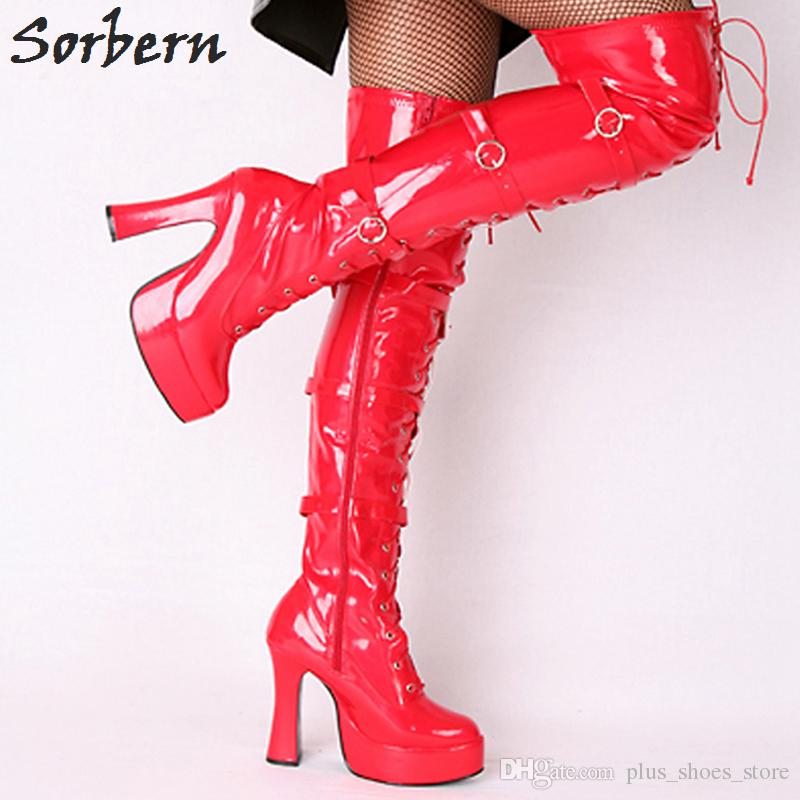 Sorbern Wholesale Boots Unisex Halloween Costume Women'S 4.5 Inch Heel Over Knee Thigh High Boot With Hook Lace Up And Side Zipper