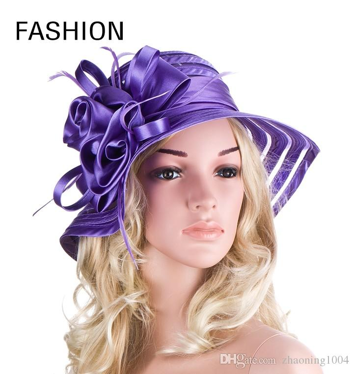 b0825e51c097c Elegant Ladies Flower Church Wedding Dress Organza Hats Women Kentucky Derby  Hat Packable Summer Foldable Beach Wide Brimmed Red Sun Visors Tea Party  Hats ...
