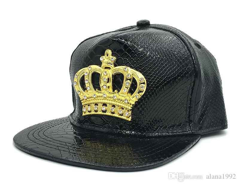1678e439af0 2019 Mens Womens Snapback Hat Crown KING Baseball Caps Adjustable Hip Hop  Hats Black Summer Peaked Rhinestone Crystal Sun Cap From Alana1992
