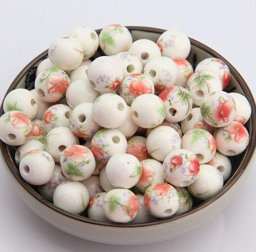 100pcs Handmade Porcelain European Beads Rondelle Large Hole Loose Charms 15mm