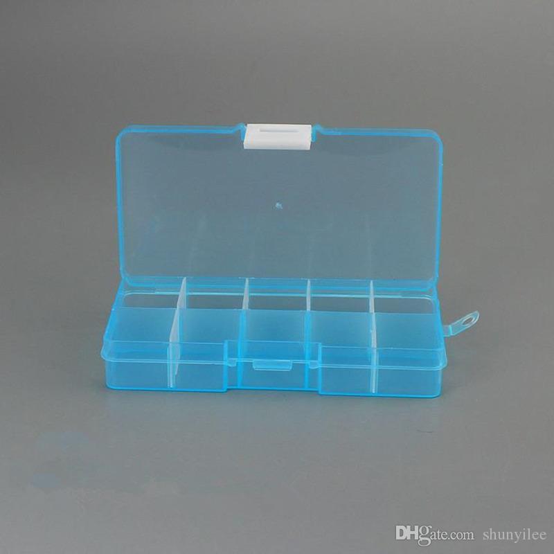 10 griglie regolabili gioielli strumento casella pillole organizzatore nail art punta scatola di immagazzinaggio caso spedizione veloce F2017269