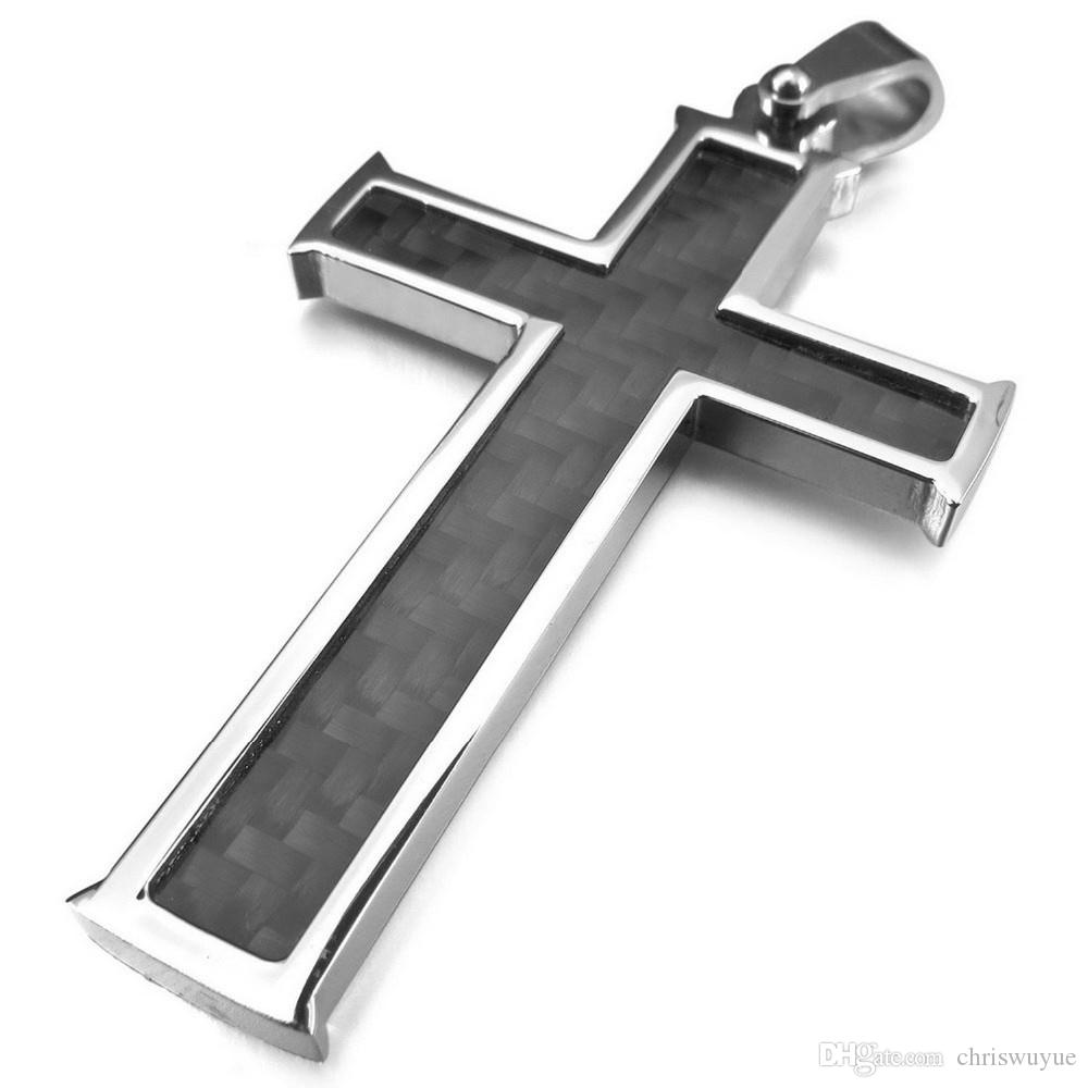 2017 Fashion High Quality Men's Carbon Fiber Pendant Necklace Silver Black Cross Stainless Steel Pendant jewelry