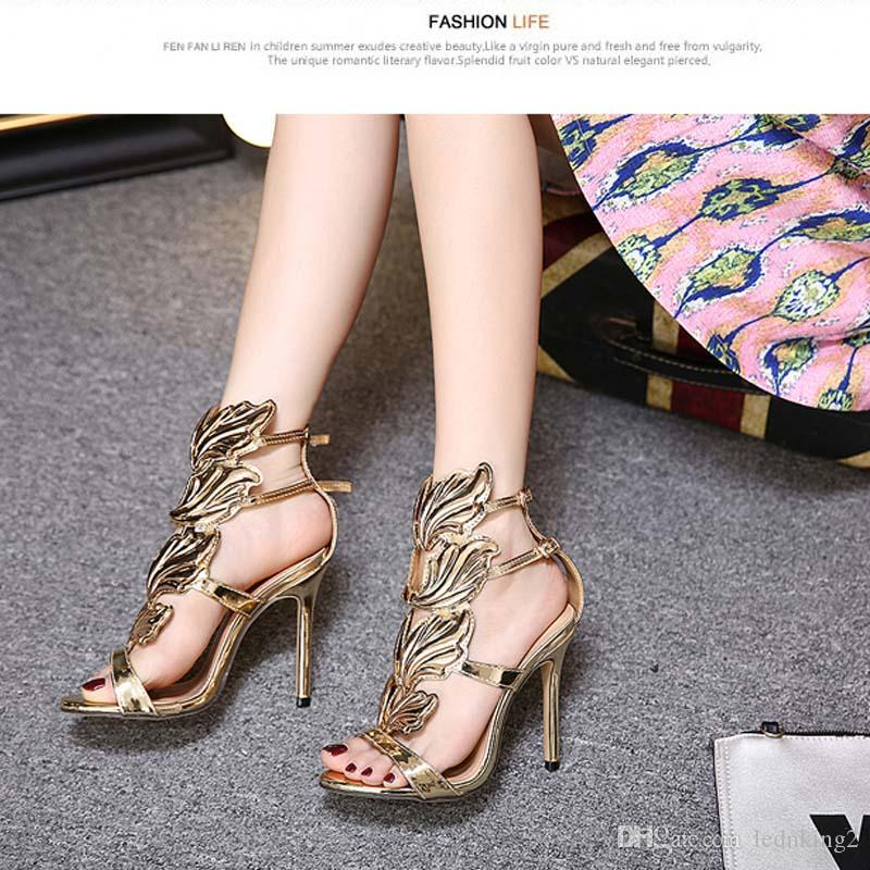 Gold Crystal Flame Leaves Metal Decoration Women Shoes Winged Gladiator Women Sandals High Heels Open Toe Party Ladies Shoes