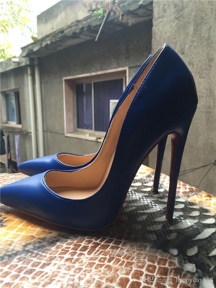 Ücretsiz kargo Moda Kadın ayakkabı seksi bayan Mavi çocuk deri nokta toe yüksek topuklu ince topuk ayakkabı çizmeler pompaları gerçek fotoğraf gelin düğün ayakkab ...