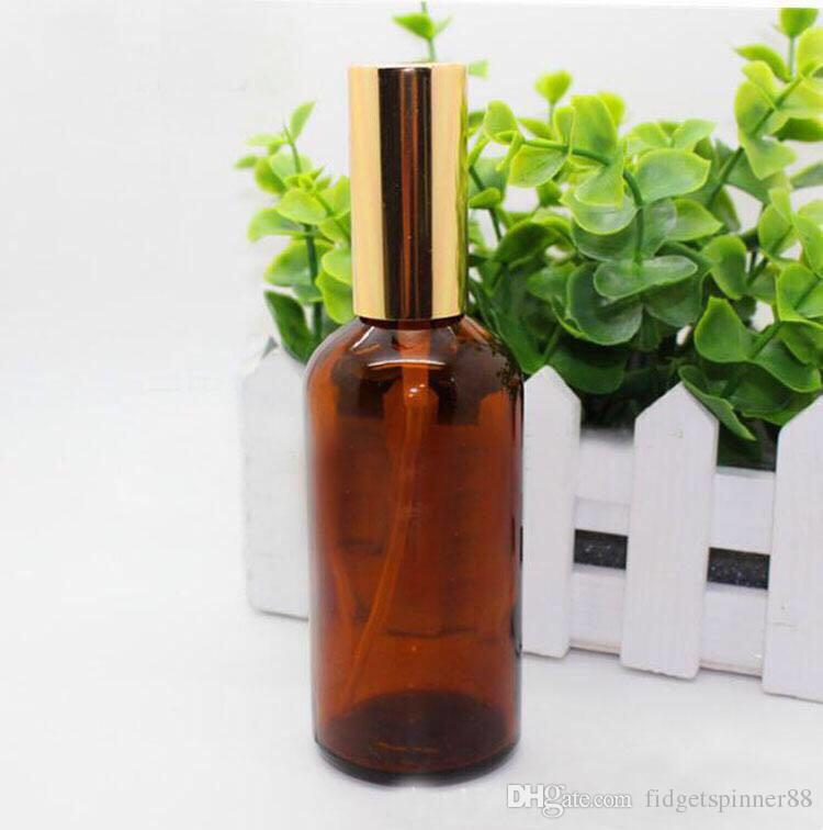 Empty 100ML Amber Refillable Glass Spray Bottle Essential Oil Bottles For Perfume Cosmetic Packaging