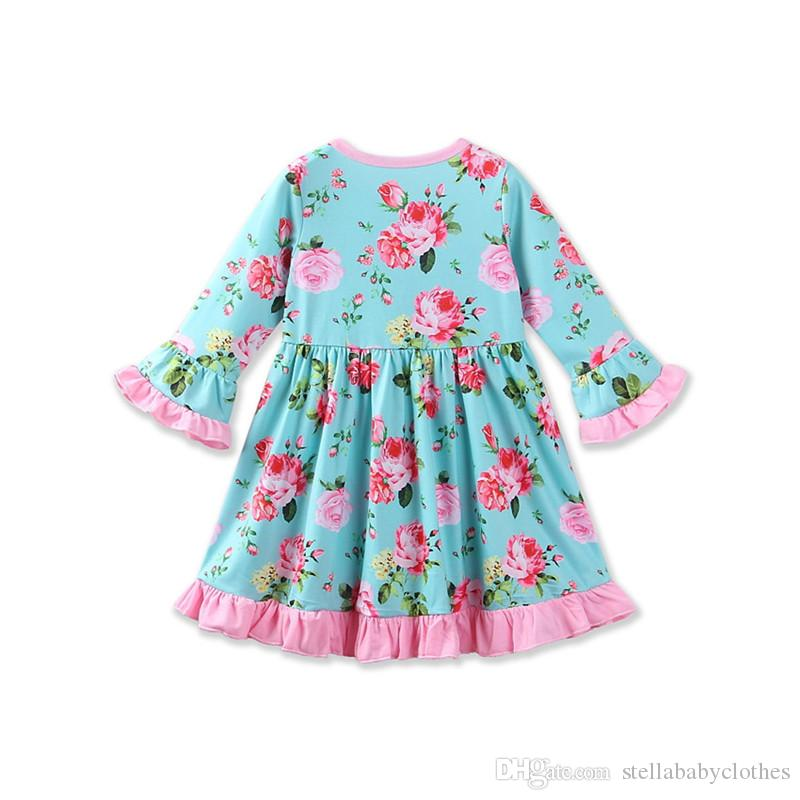Fashion Girls Boutique Dress Autumn Ruffle Long Sleeve Girls Clothes Floral Printed Kids Clothes Western Girls Toddler Dresses with Headband