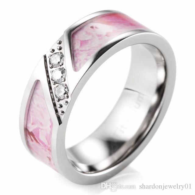 SHARDON 7mm Pink Camo Engagement Ring with Three Cubic Zirconia