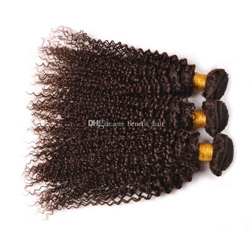 Malaysian Virgin Human Hair Bundles Kinky Curly Chocolate Brown Human Hair Weft Medium Brown #4 Wavy Hair Extension For Woman