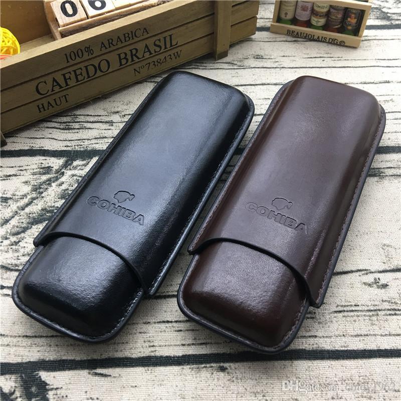 COHIBA 브라운 컬러 및 블랙 컬러 가죽 홀더 2 튜브 여행용 담배 케이스 Humidor for Smoking