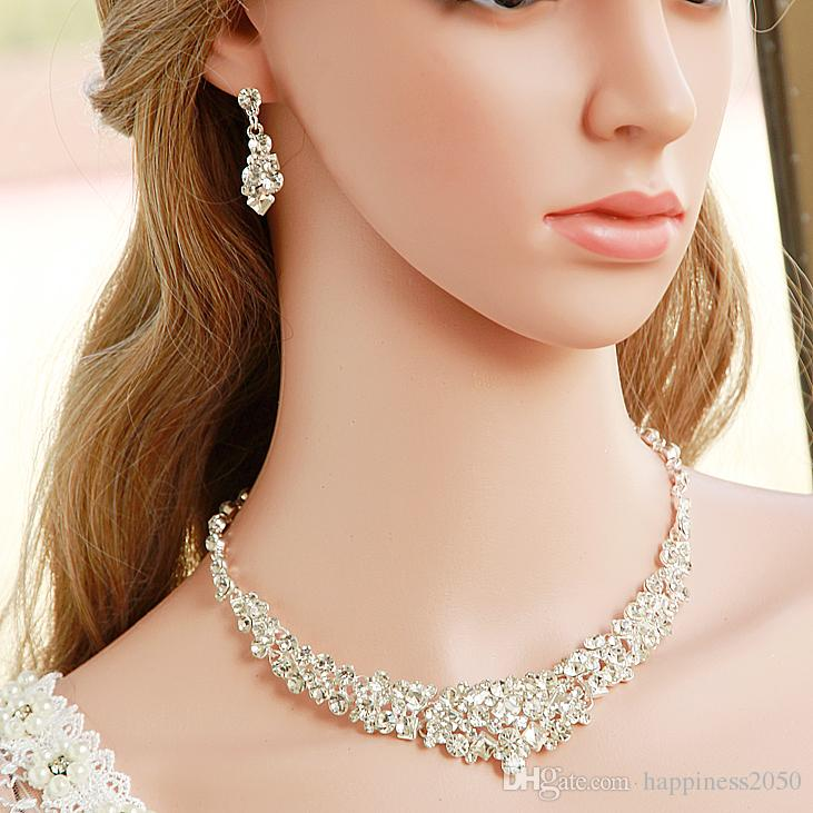 Beauty Silver Flower Bridal Necklace Earring Suits Jewelry Suits Wedding Bridal Jewelry P419007