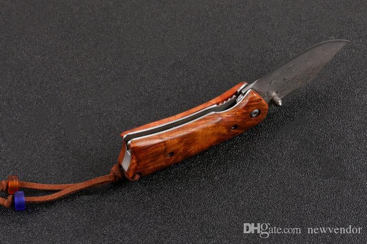 Özel Teklif Şam Katlanır Bıçak Gülağacı Kolu EDC Cep Bıçaklar Naylon Torba ve Perakende kutusu Ile Çocuklar Için En Iyi Hediye EDC Araçları