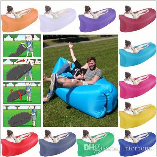 Fast Inflatable Sleeping Bag Lazy Air Sofa Bed Camping Hangout Lazy Lounger  Portable Beach Lay Sack Air Bean Bag Couch Sleeping Chair A2023 Outdoor  Pillow ... - Fast Inflatable Sleeping Bag Lazy Air Sofa Bed Camping Hangout