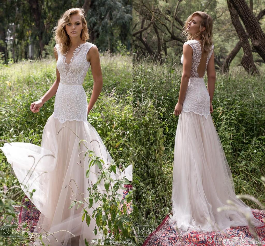 Discount 2017 Mermaid Open Back Wedding Dresses Sheer Illusion ...