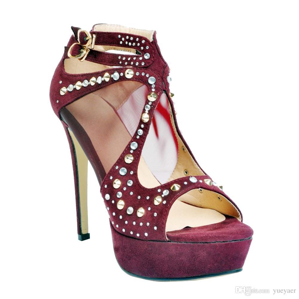 Zandina Femmes Dames De Mode À La Main Rivets Spikes Peep-Toe Haute Talon Plate-Forme Sandales Chaussures De Mode Pourpre XD201