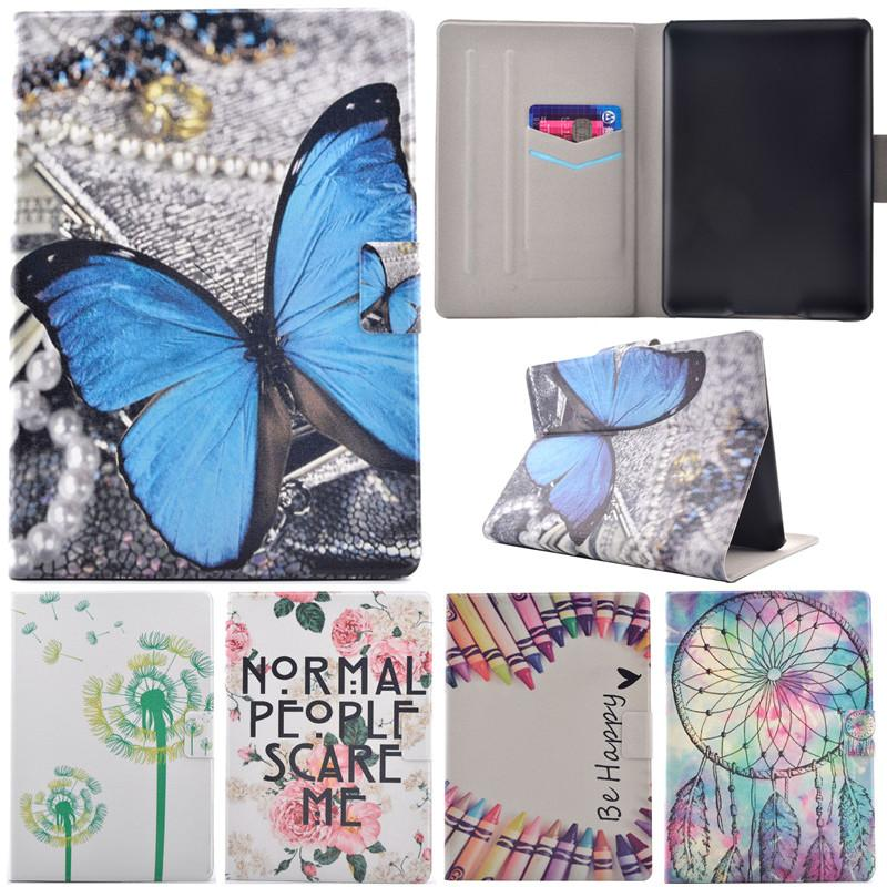 Wholesale- Cute Cartoon Tree Pen Butterfly Smile Stand Flip Leather Case  For Amazon Kindle Paperwhite 1 2 3 6 0