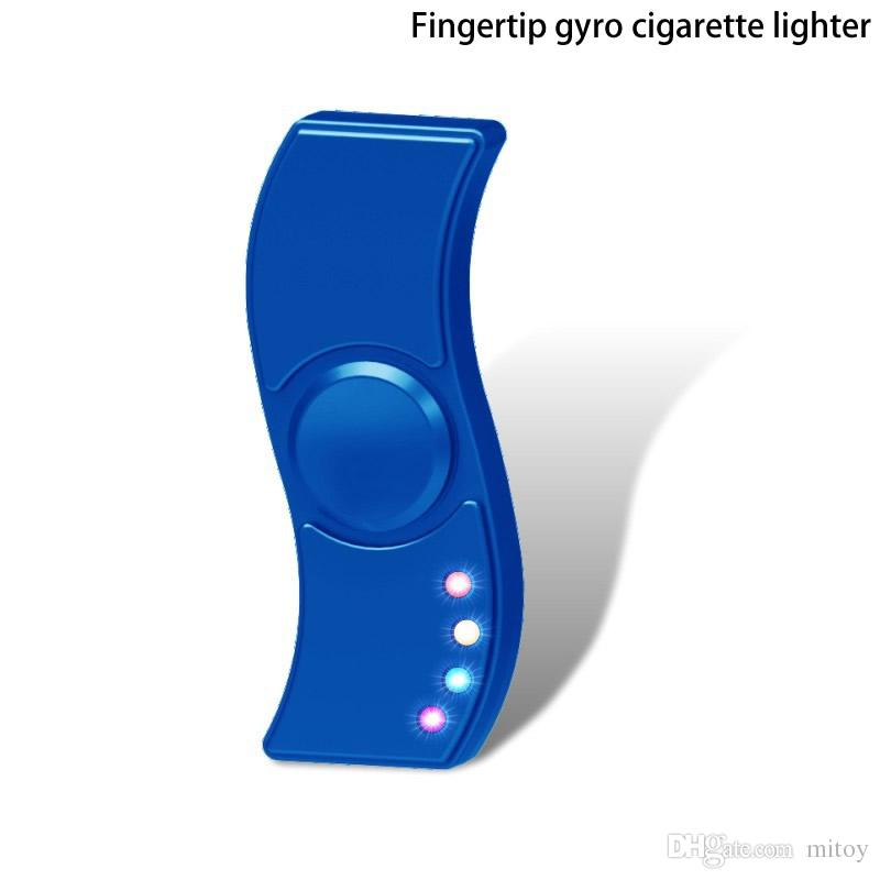 New LED Hand Spinner metal gyro charge lighter fingertips rotating gyro wind safety machine charging sub-cigarette lighter decompression toy