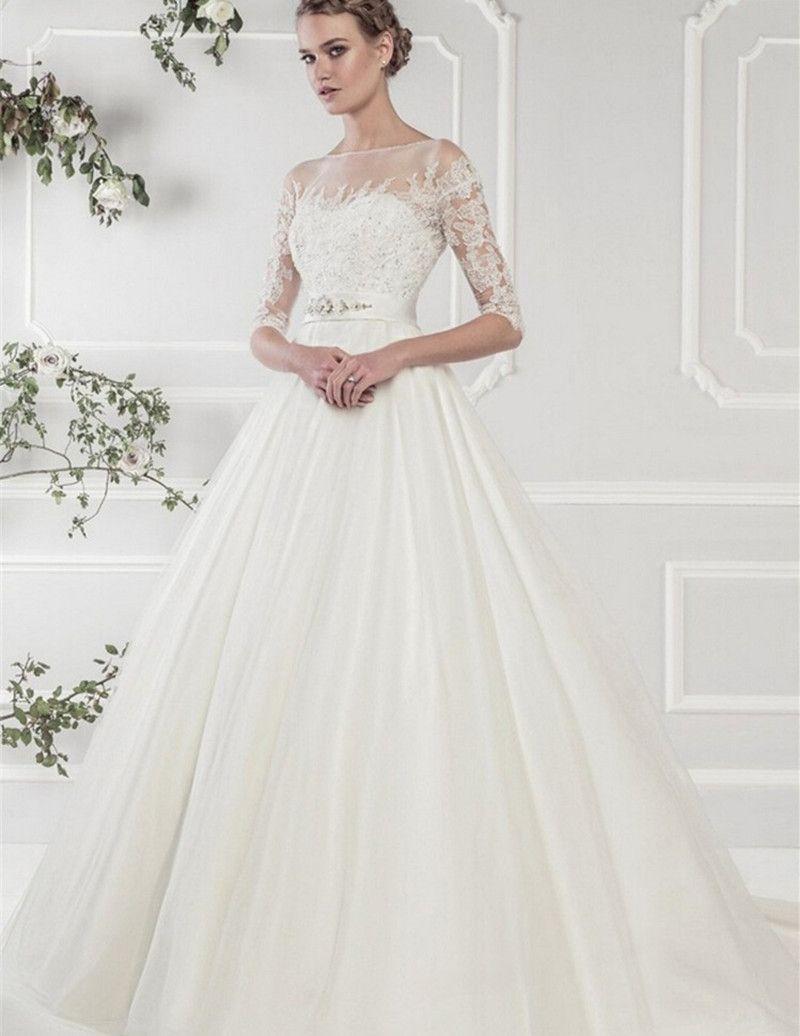Romatice White Satin Wedding Dresses 2017 Lace Half Sleeves Gowns Sweep Train A Line Dress Bride Vestido De Noiva Quick Ship