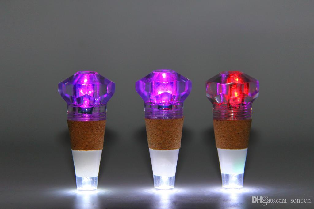 Romantico Diamond LED Cap Lights Bottiglia USB RGB colorato con luce bianca Diamond Wine Bottle Lanterna Bar Champagne Tappo in sughero LED Night Light