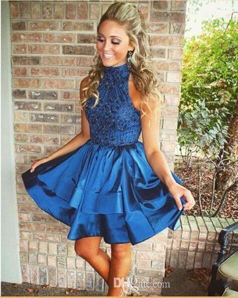 2017 Sexy cocktail vestidos de alto pescoço frisado de cristal caçador azul marinho azul vestidos de baile oco vestido de festa traseira plus size vestidos de homecoming
