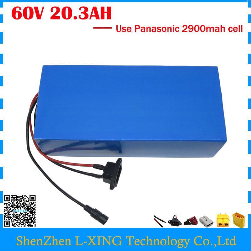 Ücretsiz gümrük vergisi 3000W 60V 20AH Lityum batarya 60V 20.3AH elektrikli bisiklet pil kullanım Panasonic 2900mah hücre 50A BMS