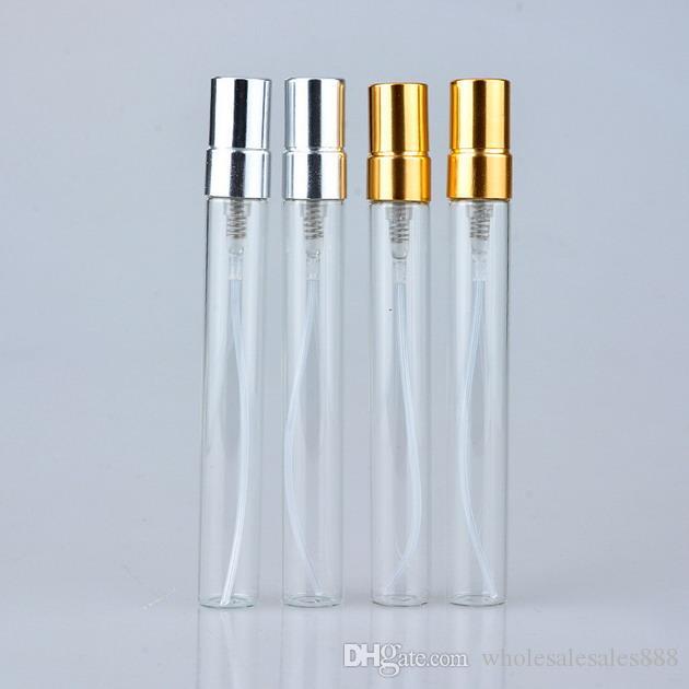 200 unids 10 ml Botella de perfume de vidrio Botella de spray recilable vacía Pequeño Parfume Atomizador Perfume Muestra Viales botella de vidrio de prueba Envío gratis