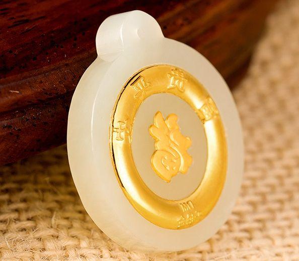 Золото инкрустированный нефрит белый все, пряжка богатство и честь мира ожерелье кулон пункт 2