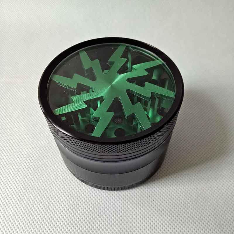 Métal Tabagisme Moulins à herbe 63mm en alliage d'aluminium avec Clear Top fenêtre d'éclairage Grinders 3 Styles abrasimètre 15 Couleurs