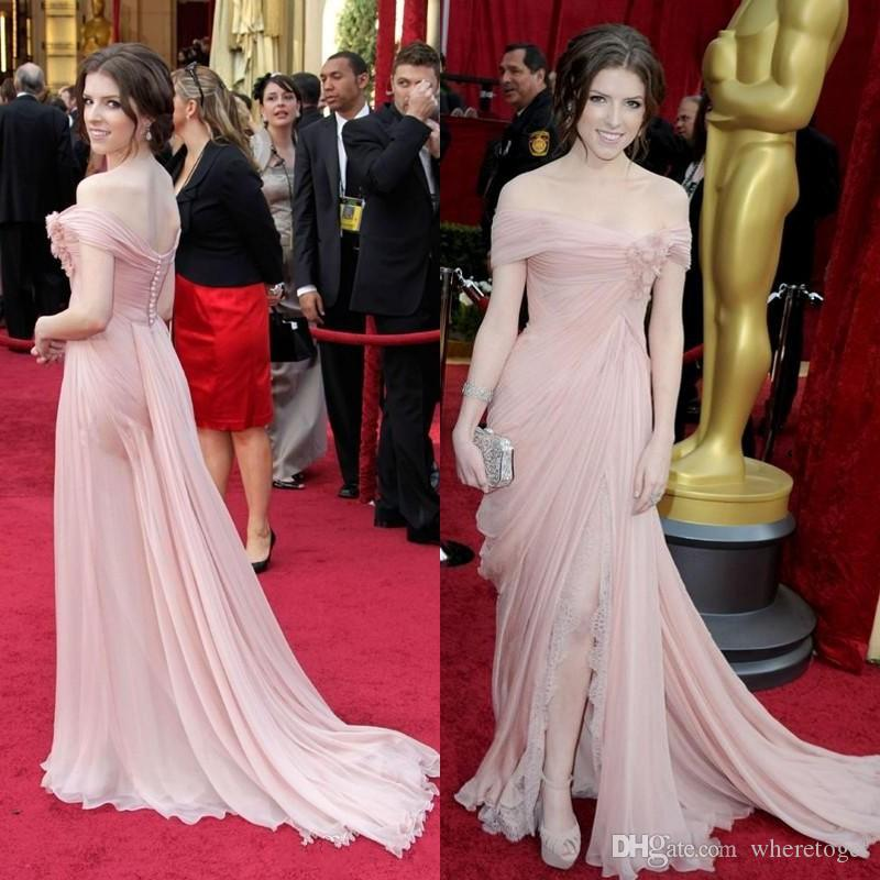 Pink Elie Saab Evening Dresses Celebrity Gowns Off Shoulder Chiffon