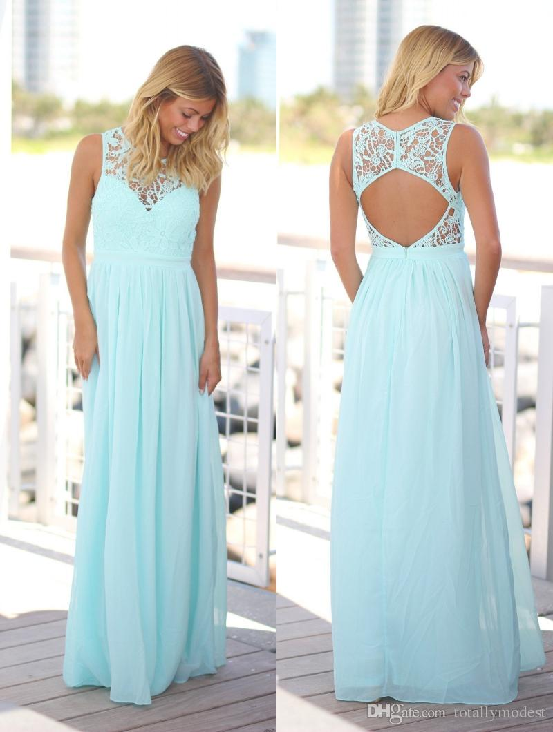 Mint Green Summer Beach Bridesmaid Dresses Long Jewel Neck Lace Top Chiffon Skirt Formal Country Bridesmaid Gowns Cheap Custom Made