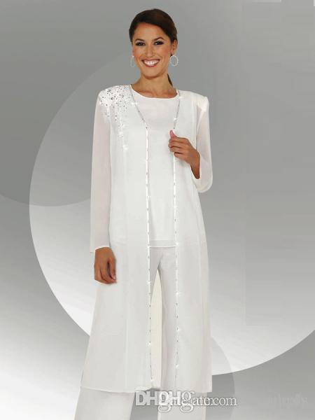 Branco Chiffon Mangas Compridas Mãe da Noiva Pant Ternos Com Longo Blusa Lantejoulas Frisado Mãe do Noivo Calça Terno