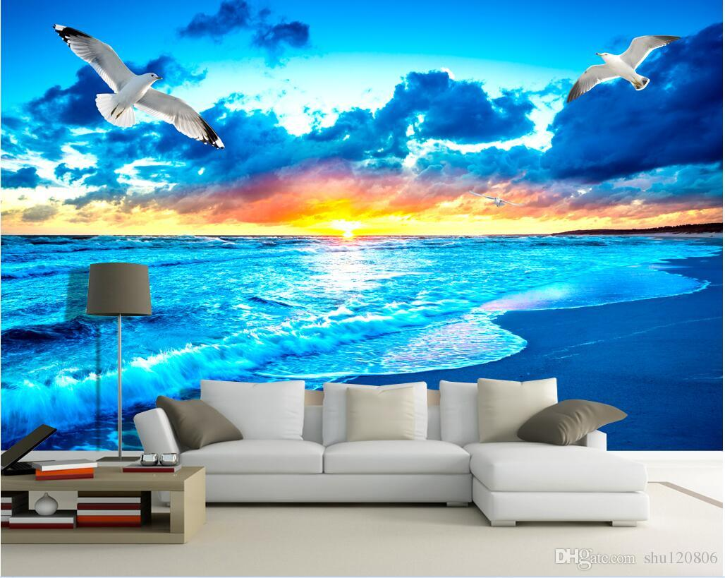 3d room wallpaper custom photo non-woven mural Sea sunrise landscape decoration painting picture 3d wall murals wallpaper for walls 3 d