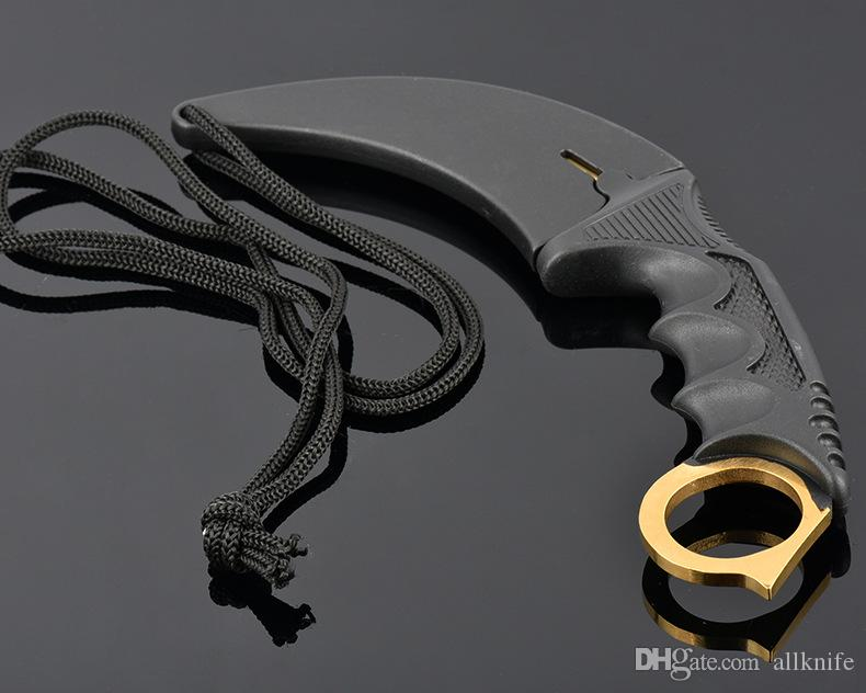 CS GO Cross Titanium Karambit 440C Couteau À Lame Fixe ABS Poignée Camping En Plein Air Chasse Survie Couteau Pocekt Utilitaire Militaire EDC