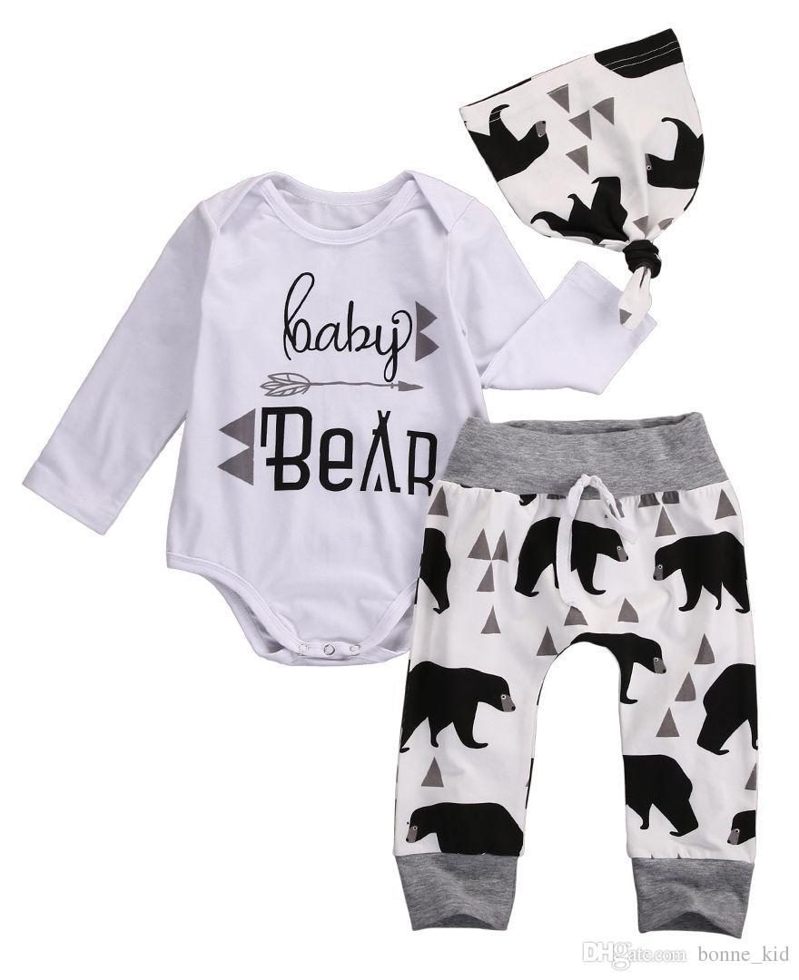 겨울 캐주얼 키즈 의류 바지 + Romper + 모자 2017 신생아 유아 베이비 보이 화이트 귀여운 곰 패턴 면화 양복 도매 12M - 4Y